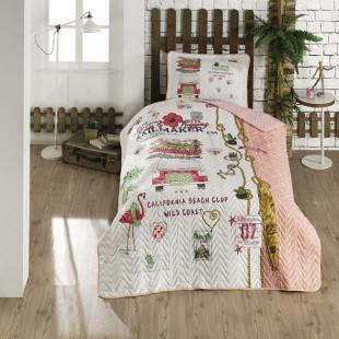 Cuvertura de pat pentru copii matlasata, reversibila, pentru 1 persoana, cu 2 piese din bumbac 100%, Ralex Pucioasa - Clasy - Karla
