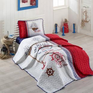 Cuvertura de pat pentru copii matlasata, reversibila, pentru 1 persoana, cu 2 piese din bumbac 100%, Ralex Pucioasa - Clasy - Lenny