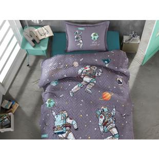 Cuvertura de pat pentru copii matlasata, reversibila, pentru 1 persoana, cu 2 piese din bumbac 100%, Ralex Pucioasa - Clasy - Cosmi