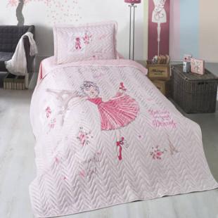 Cuvertura de pat pentru copii matlasata, reversibila, pentru 1 persoana, cu 2 piese din bumbac 100%, Ralex Pucioasa - Clasy - Raisa