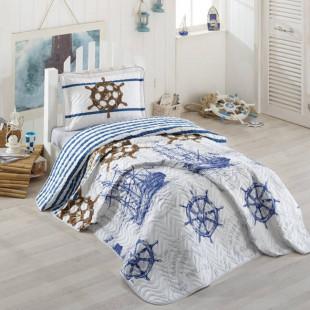 Cuvertura de pat pentru copii matlasata, reversibila, pentru 1 persoana, cu 2 piese din bumbac 100%, Ralex Pucioasa - Clasy - Raul