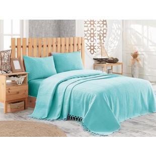 Cuvertura de pat pique, din bumbac 100%, pentru pat dublu 220x240 cm - Selena