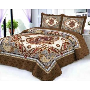 Cuvertura de pat reversibila din bumbac pentru pat dublu. 2 persoane, cu 3 piese - Adda