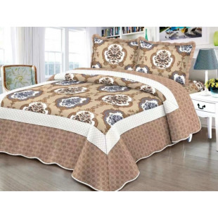 Cuvertura de pat reversibila din bumbac pentru pat dublu. 2 persoane, cu 3 piese - Adella