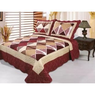 Cuvertura de pat reversibila din bumbac pentru pat dublu. 2 persoane, cu 3 piese - Amelia