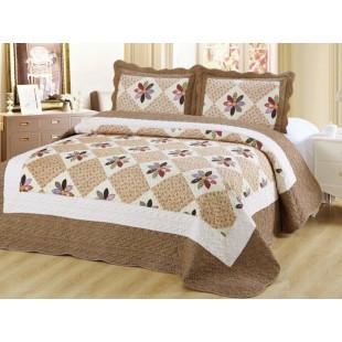 Cuvertura de pat reversibila din bumbac pentru pat dublu. 2 persoane, cu 3 piese - Anemona