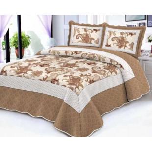 Cuvertura de pat reversibila din bumbac pentru pat dublu. 2 persoane, cu 3 piese - Gianina