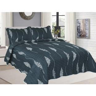 Cuvertura de pat reversibila din bumbac pentru pat dublu. 2 persoane, cu 3 piese - Gina