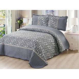 Cuvertura de pat reversibila din bumbac pentru pat dublu. 2 persoane, cu 3 piese - Hanna