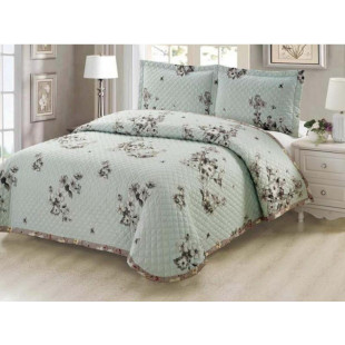 Cuvertura de pat reversibila din bumbac pentru pat dublu. 2 persoane, cu 3 piese - Luisa