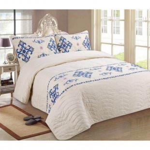 Cuvertura de pat reversibila din bumbac pentru pat dublu. 2 persoane, cu 3 piese - Nadia