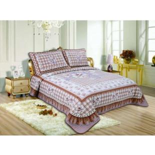 Cuvertura de pat reversibila din bumbac pentru pat dublu. 2 persoane, cu 3 piese - Rosa