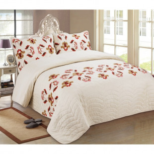 Cuvertura de pat reversibila din bumbac pentru pat dublu. 2 persoane, cu 3 piese - Rosalinda