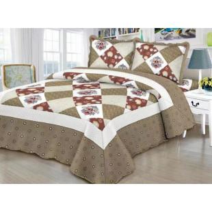 Cuvertura de pat reversibila din bumbac pentru pat dublu. 2 persoane, cu 3 piese - Sabrina