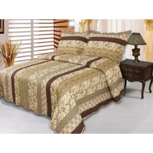Cuvertura de pat reversibila din bumbac pentru pat dublu. 2 persoane, cu 3 piese - Sella