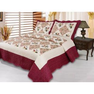 Cuvertura de pat reversibila din bumbac pentru pat dublu. 2 persoane, cu 3 piese - Sidonia