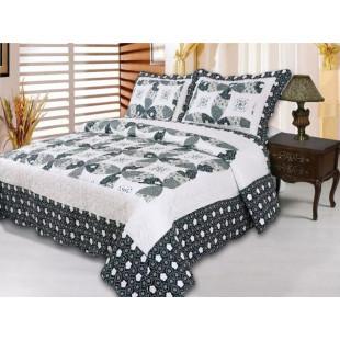 Cuvertura de pat reversibila din bumbac pentru pat dublu. 2 persoane, cu 3 piese - Silvana