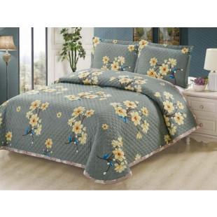 Cuvertura de pat reversibila din bumbac pentru pat dublu. 2 persoane, cu 3 piese - Sonia