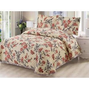 Cuvertura de pat reversibila din bumbac pentru pat dublu. 2 persoane, cu 3 piese - Zina
