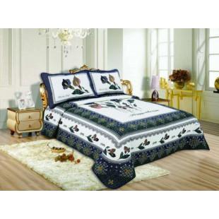 Cuvertura de pat reversibila din bumbac pentru pat dublu. 2 persoane, cu 3 piese - Larisa