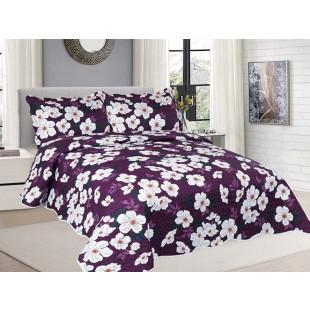 Cuvertura de pat din bumbac pentru pat dublu. 2 persoane, cu 3 piese - Rosa