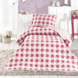 Cuvertura de pat dublu, matlasata, reversibila, pentru 2 persoane, cu 3 piese din bumbac 100%, Ralex Pucioasa - Clasy - Maya