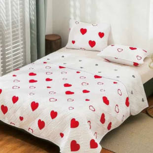 Cuvertura matlasata pentru pat dublu 220x230 cm + 2 fete de perna 50x70 cm, reversibila, pentru 2 persoane din bumbac finet Ralex Pucioasa - Luiza
