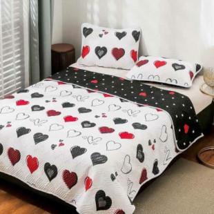 Cuvertura matlasata pentru pat dublu 220x230 cm + 2 fete de perna 50x70 cm, reversibila, pentru 2 persoane din bumbac finet Ralex Pucioasa - Melisa