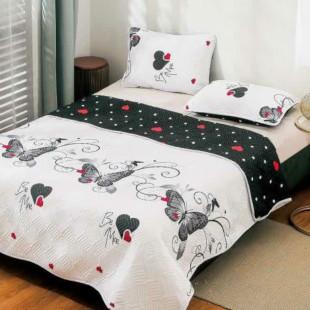 Cuvertura matlasata pentru pat dublu 220x230 cm + 2 fete de perna 50x70 cm, reversibila, pentru 2 persoane din bumbac finet Ralex Pucioasa - Oprah