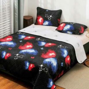 Cuvertura matlasata pentru pat dublu 220x230 cm + 2 fete de perna 50x70 cm, reversibila, pentru 2 persoane din bumbac finet Ralex Pucioasa - Romelia