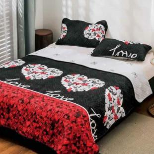 Cuvertura matlasata pentru pat dublu 220x230 cm + 2 fete de perna 50x70 cm, reversibila, pentru 2 persoane din bumbac finet Ralex Pucioasa - Zena
