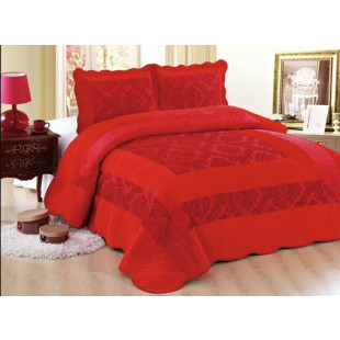 Cuvertura moderna de pat dublu pentru 2 persoane, din catifea, cu 3 piese - model