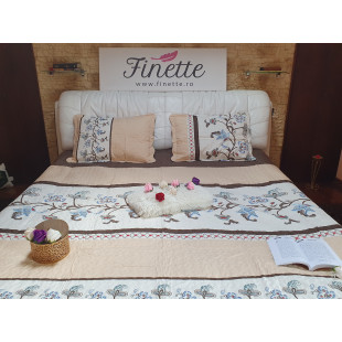 Cuvertura de pat reversibila din bumbac pentru pat dublu. 2 persoane
