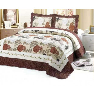 Cuvertura moderna de pat matrimonial din bumbac pentru pat dublu. 2 persoane, cu 3 piese - Olivia
