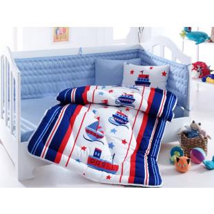 Set complet de lenjerie pentru patut de bebe cu pilota si aparatori, 6 piese - Cotton box, din bumbac 100% - Darius