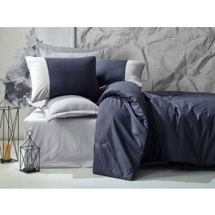 Lenjerie de pat pentru 2 persoane, 4 piese, gri | albastru - Cotton box, din bumbac 100% - Fabian