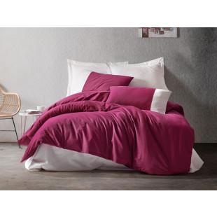 Lenjerie de pat pentru 2 persoane, 4 piese, bordo | crem - Cotton box, din bumbac 100% - Fabiana