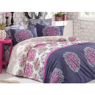Lenjerie de pat pentru 2 persoane, 4 piese, Bahar Majoli, din bumbac 100% Ranforce - Helen