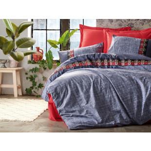 Lenjerie de pat pentru 1 persoana, 3 piese, brodata, Cotton box, din bumbac 100% - Luana