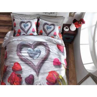 Lenjerie de pat 3D pentru 2 persoane, 4 piese - Cotton box, din bumbac 100% Ranforce - Irina