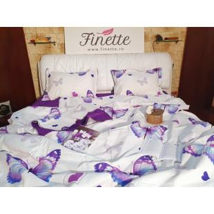 Lenjerie de pat bumbac finet, cu 6 piese, pentru 2 persoane