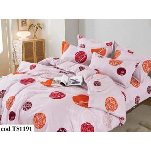 Lenjerie de pat bumbac finet (cearceaf cu elastic 180x200 cm), cu 6 piese, pentru 2 persoane, L'atelier Creatif Pucioasa - Dorothea