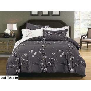 Lenjerie de pat bumbac finet (cearceaf cu elastic 160x200 cm), cu 4 piese, pentru 2 persoane, L'atelier Creatif Pucioasa - Daria
