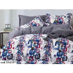 Lenjerie de pat bumbac finet (cearceaf cu elastic 180x200 cm), cu 6 piese, pentru 2 persoane, L'atelier Creatif Pucioasa - Monalisa