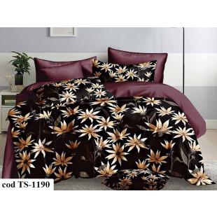 Lenjerie de pat bumbac finet (cearceaf cu elastic 160x200 cm), cu 4 piese, pentru 2 persoane, L'atelier Creatif Pucioasa - Sonia