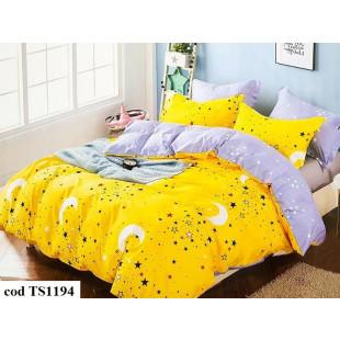 Lenjerie de pat bumbac finet (cearceaf cu elastic 180x200 cm), cu 4 piese, pentru 2 persoane, L'atelier Creatif Pucioasa - Doris