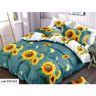 Lenjerie de pat bumbac finet (cearceaf cu elastic 180x200 cm), cu 6 piese, pentru 2 persoane, L'atelier Creatif Pucioasa - Gloria
