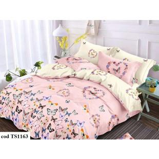 Lenjerie de pat bumbac finet (cearceaf cu elastic 180x200 cm), cu 6 piese, pentru 2 persoane, L'atelier Creatif Pucioasa - Lena