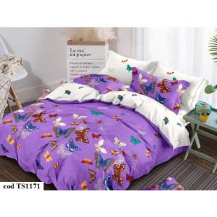Lenjerie de pat bumbac finet (cearceaf cu elastic 180x200 cm), cu 6 piese, pentru 2 persoane, L'atelier Creatif Pucioasa - Hermina