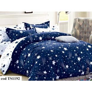 Lenjerie de pat bumbac finet (cearceaf cu elastic 180x200 cm), cu 6 piese, pentru 2 persoane, L'atelier Creatif Pucioasa - Paula